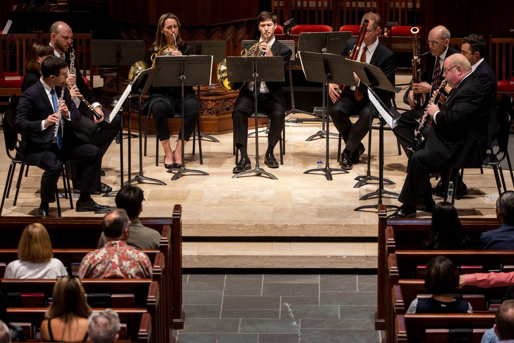 Members of the Dallas Symphony Orchestra perform at the Highland Park United Methodist Church. Sept. 8, 2019.