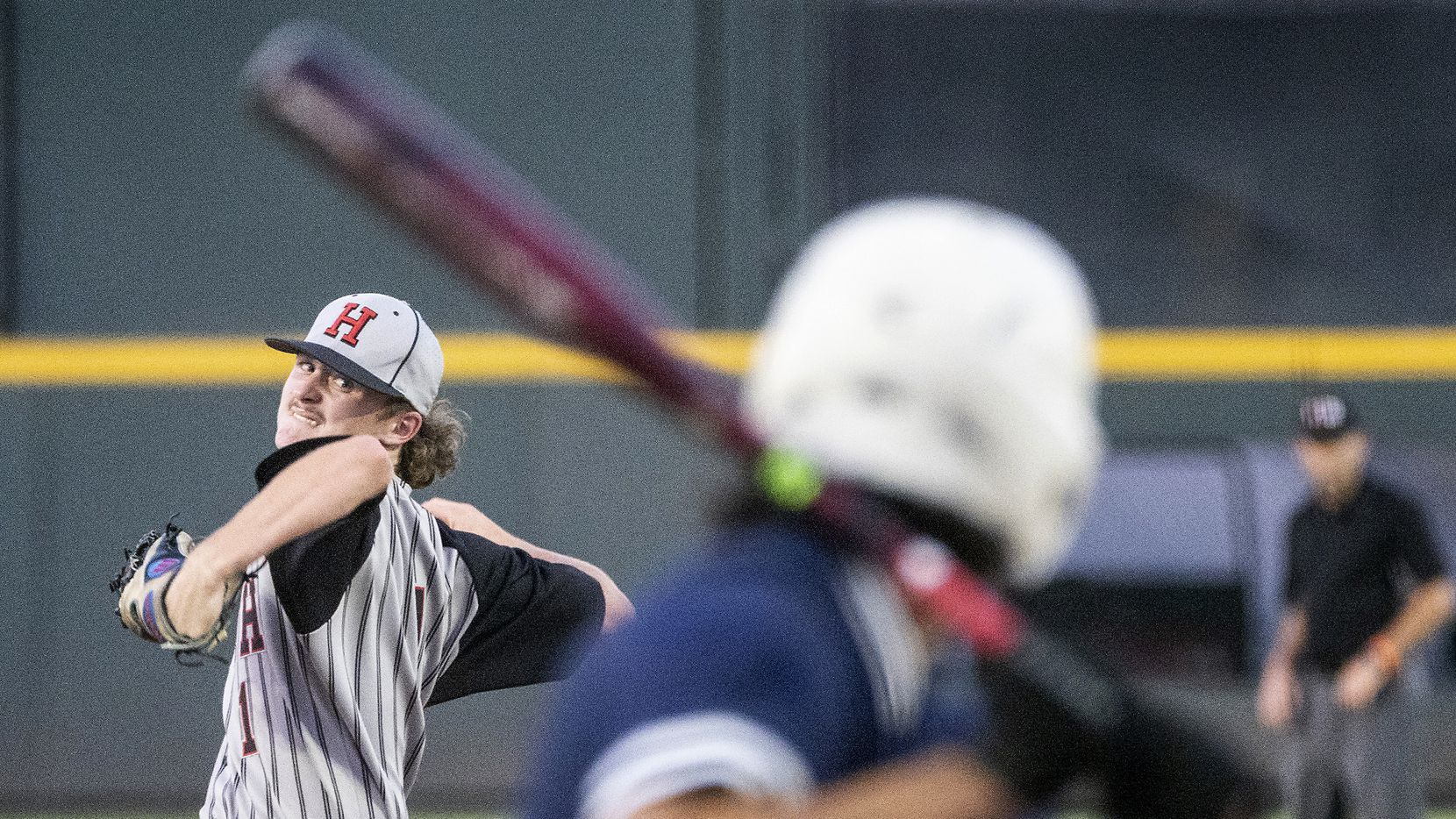 Rockwell-Heath, Baylor Baumann, (1), pitches against Comal Smithson Valley David DeHoyos, (22), during the first inning of the 2021 UIL 6A state baseball semifinals held, Friday, June 11, 2021, in Round Rock, Texas.
