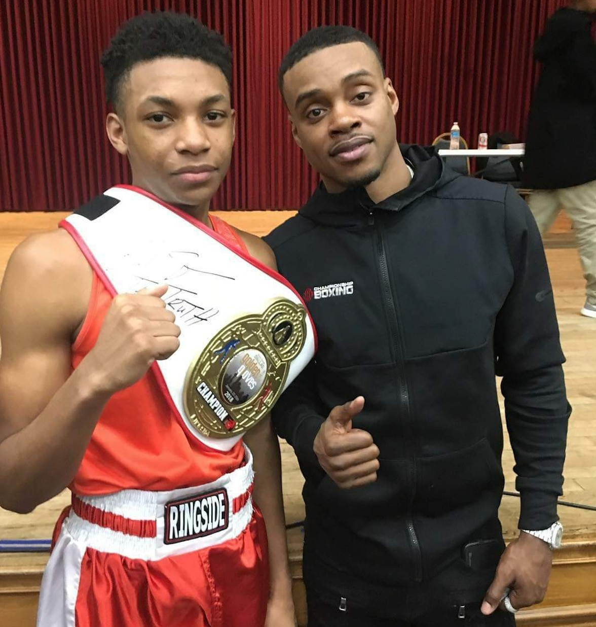 Camran Collier (left) with Errol Spence Jr., a welterweight boxing champion from DeSoto. Collier looked up to Spence and developed a relationship with him over time.