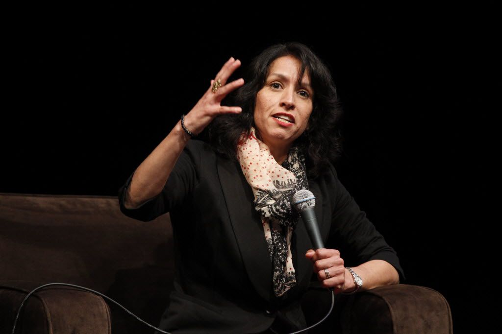 Attorney Liz Cedillo-Pereira addresses a crowd last year at City Performance Hall as part of a panel on the north-south gap within Dallas.