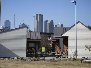 The Cottages at Hickory Crossing, a project administered by nonprofit CitySquare, is a community of 50 micro-houses designed to provide housing for homeless individuals. (Juan Figueroa/The Dallas Morning News)