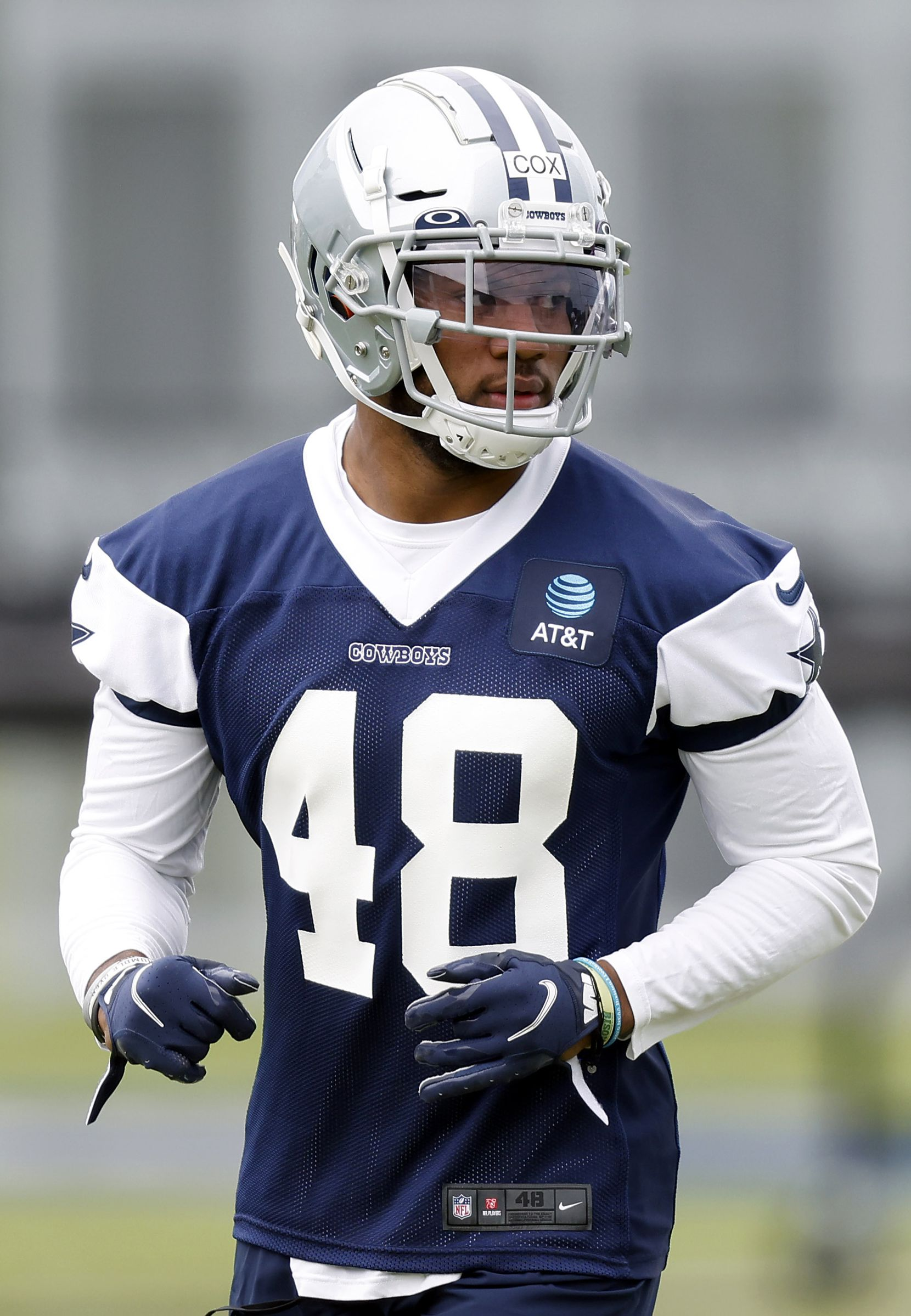 Dallas Cowboys rookie linebacker Jabril Cox (48)lines up for a drill during rookie minicamp at The Star in Frisco, Texas, Friday, May 14, 2021. (Tom Fox/The Dallas Morning News)