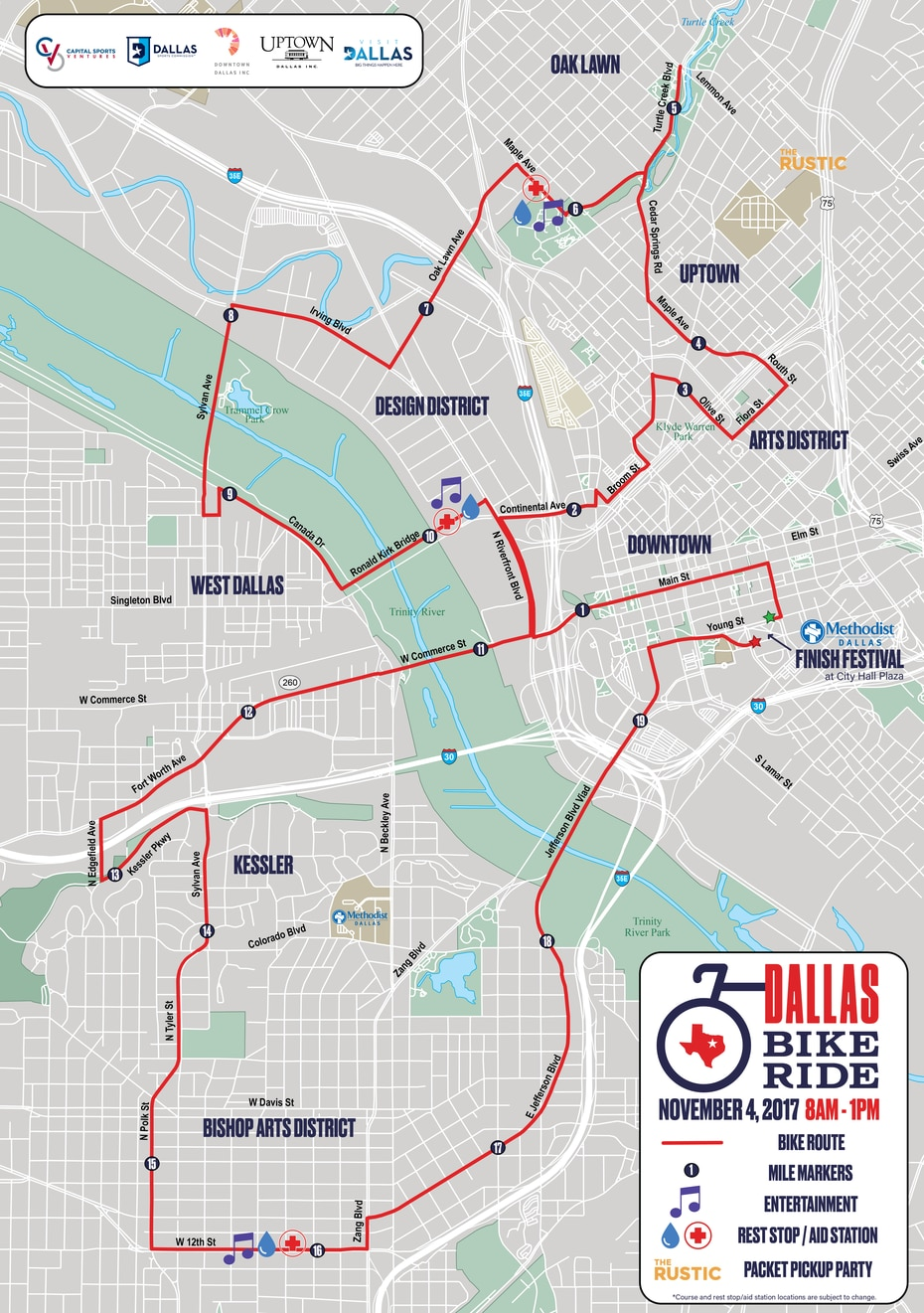 The course for the first Dallas Bike Ride traverses 20 closed city streets, showcasing many neighborhoods in Dallas.