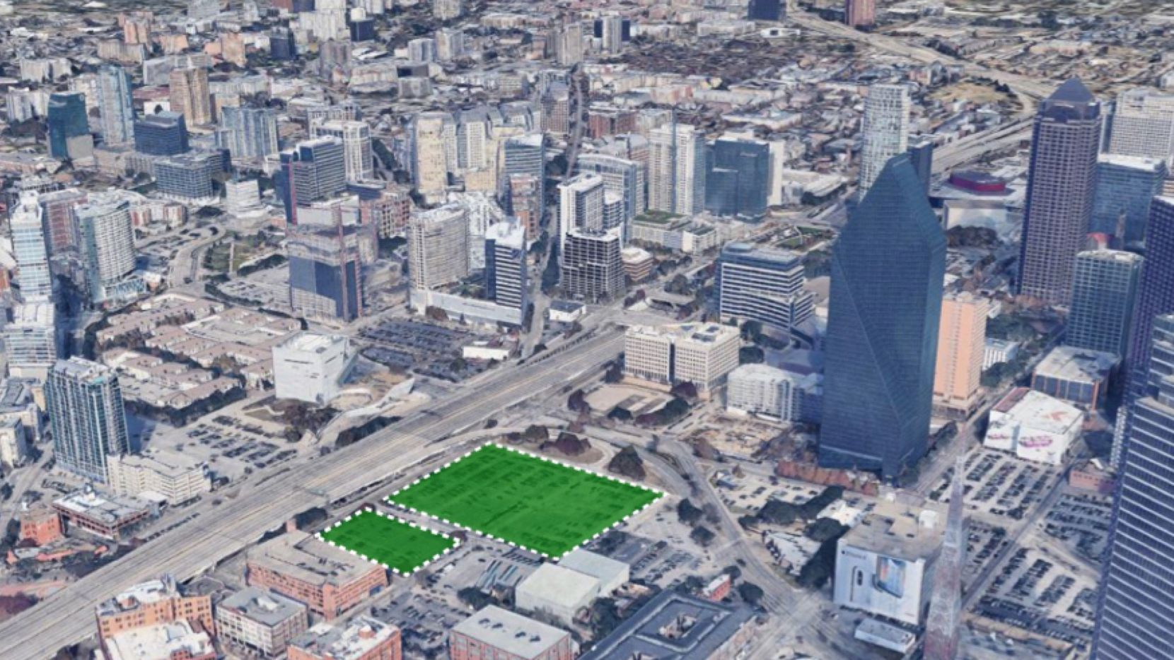 The almost 6-acre property is on the north side of downtown Dallas.