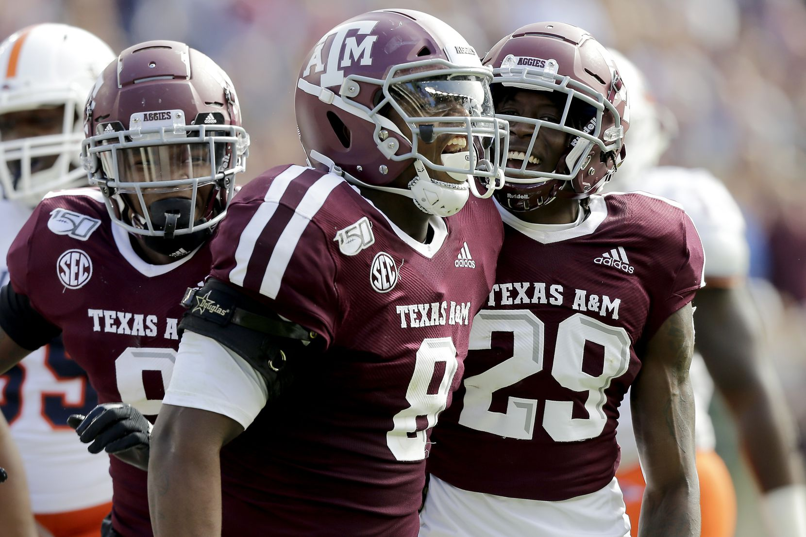 Texas A&M defensive lineman DeMarvin Leal (8) reacts after tackling UTSA quarterback Lowell Narcisse (10) for a short loss during the first quarter of an NCAA college football game, Saturday, Nov. 2, 2019, in College Station, Texas.