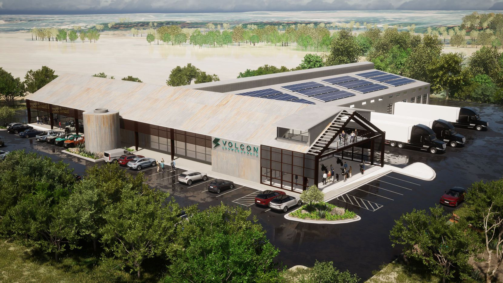 An architect's rendering of Volcon's planned manufacturing facility and headquarters in central Texas.
