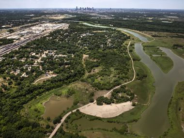 An overhead view of the Joppa neighborhood in southeast Dallas on Thursday, June 18, 2020.