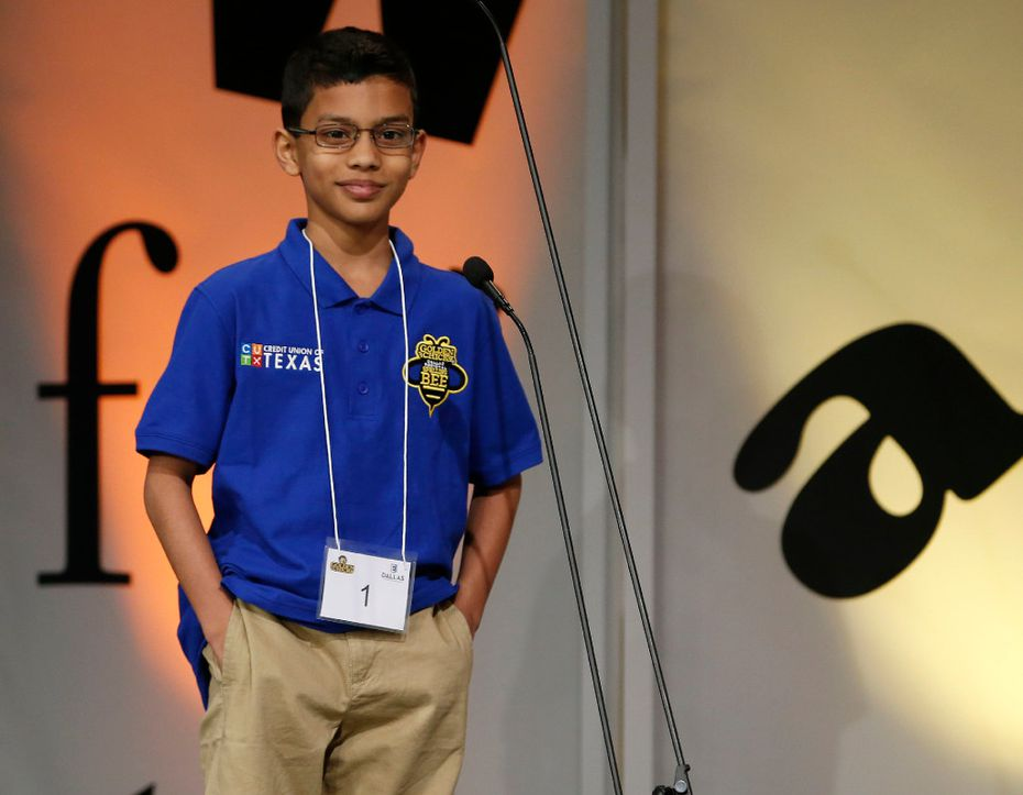 """Sohum Sukhatankar, 10, of Allen smiled Saturday after spelling """"decamerous"""" to win the 59th annual Dallas Regional Spelling Bee."""