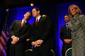 George Seay III, left, speaks to Marco Rubio at a Dallas event in 2011. (Ben Torres/Special Contributor)