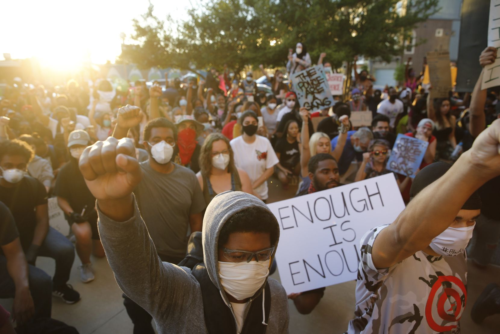 Protesters rally in downtown Dallas during a demonstration against police brutality.