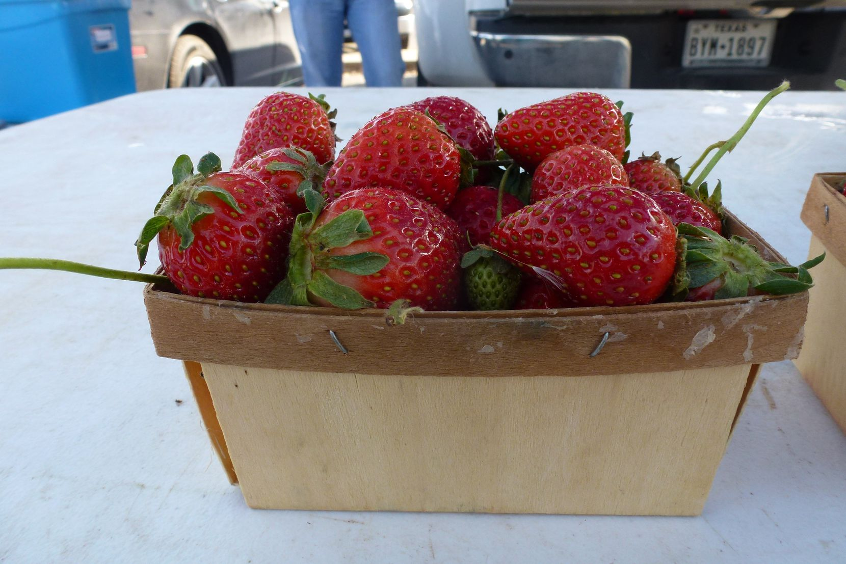 Strawberries up close and personal at Cowtown Farmers Market from  Demases Farm in Boyd