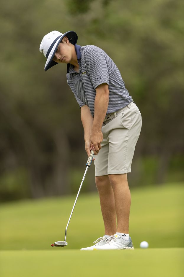 KellerÕs Kaelen Dulany putts on the 1st green during the final round of the UIL Class 6A boys golf tournament in Georgetown, Tuesday, May 18, 2021. (Stephen Spillman/Special Contributor)
