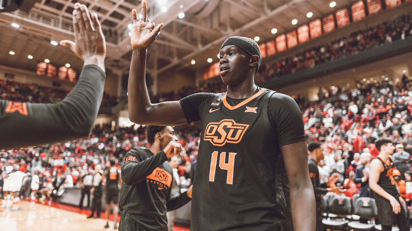 Yor Anei is pictured above at a game between Oklahoma State and Texas Tech on Saturday, Jan. 4, 2020, at United Supermarkets Arena in Lubbock. (Courtney Bay/OSU Athletics)