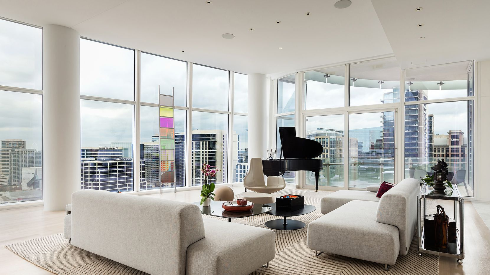 The half-floor residence at 1918 Olive St., unit 1901 in Museum Tower offers unobstructed views of the Dallas Arts District and Klyde Warren Park.