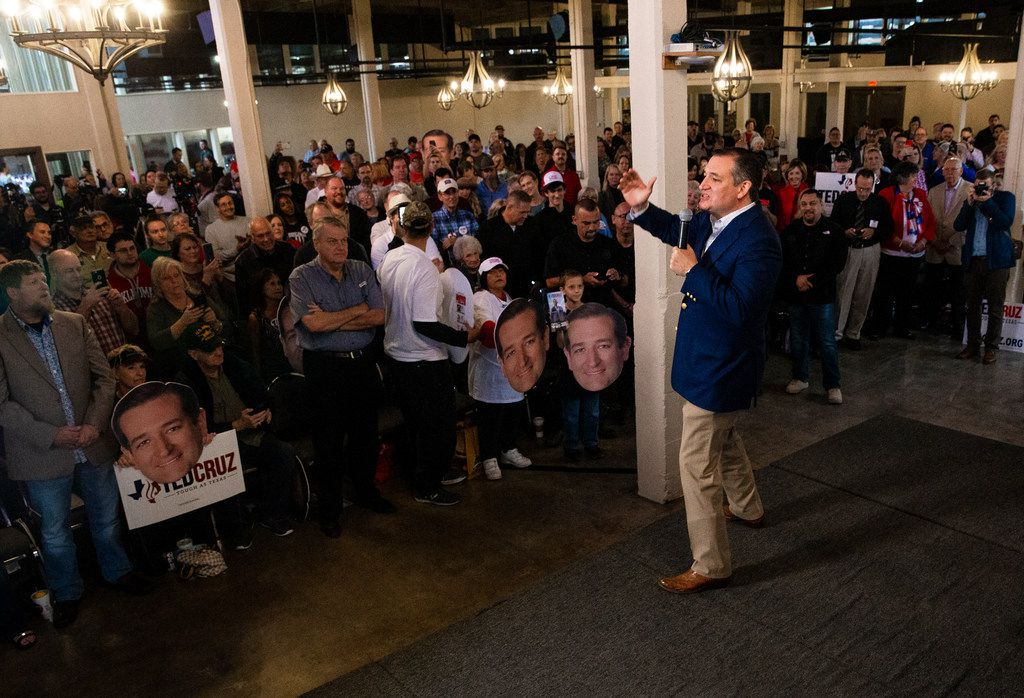 Senator Ted Cruz addresses to his supporters during his campaign rally at The Fort Worth Herd on Friday, October 19, 2018. (Shaban Athuman/The Dallas Morning News)