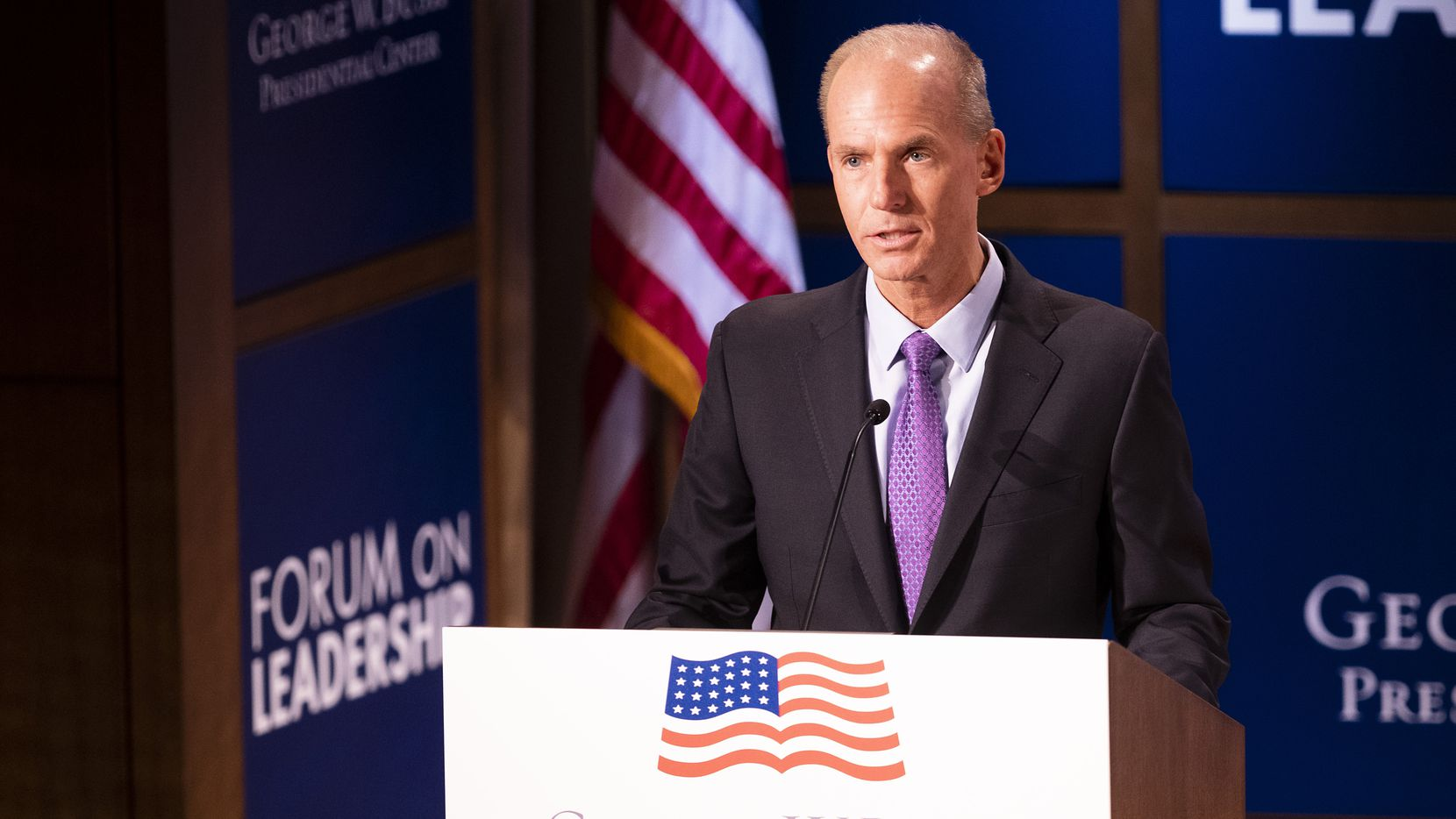 Dennis Muilenburg spoke at the Forum on Leadership at the George, W. Bush Presidential Center on Thursday, April 11, 2019, in Dallas. (Smiley N. Pool/The Dallas Morning News)