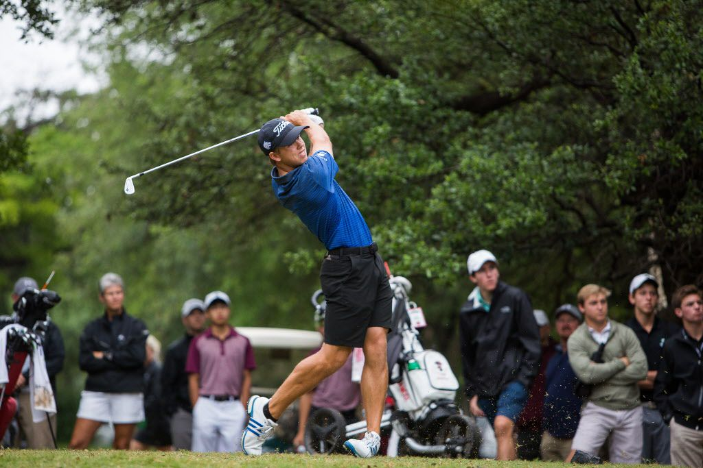Plano West's Pierceson Coody tees off on the first hole during round one of the UIL Boys 6A golf tournament at the Legacy Hills Golf Club in Georgetown, Texas on May 22, 2017.