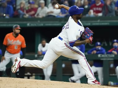 Texas Rangers pitcher Joely Rodriguez delivers during the eighth inning against the Baltimore Orioles at Globe Life Field on Saturday, April 17, 2021.