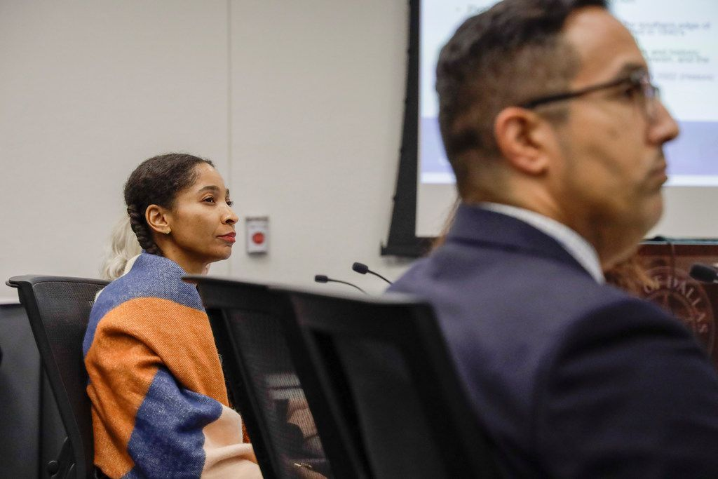 Artist Lauren Woods attended a briefing on the Confederate War Memorial at Dallas City Hall on Wednesday. City Council member Jennifer Staubach Gates wanted to delay a vote to allow time for Woods, a Southern Methodist University lecturer, to develop a way to add modern context to the memorial.
