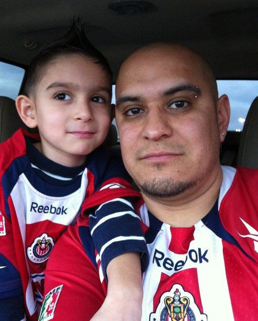 James Gonzalez and his father, Policarpo Gonzalez-Flores, wore matching jerseys in this 2011 photo.