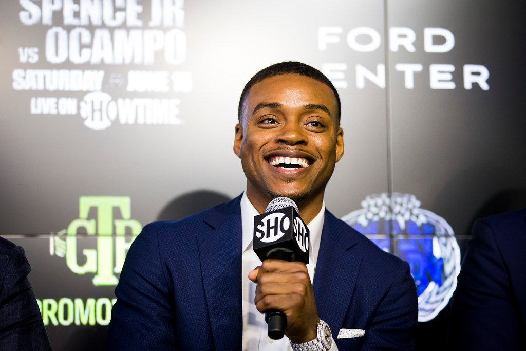 Boxer Errol Spence Jr.  laughs during a press conference to promote his welterweight title defense against challenger Carlos Ocampo at The Star on Wednesday, May 2, 2018, in Frisco, Texas. The fight is scheduled for June 16 at Ford Center. (Smiley N. Pool/The Dallas Morning News)