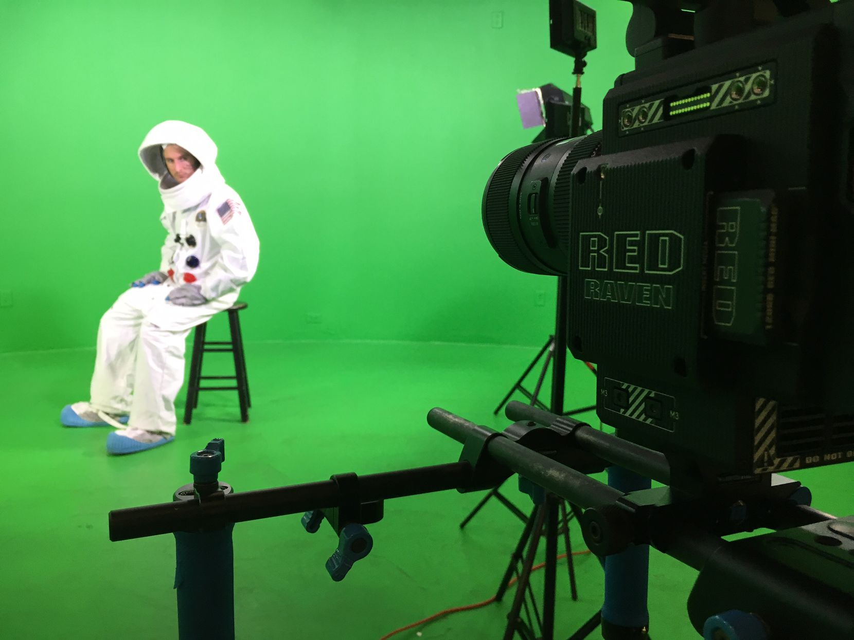 Colton Tapp prepares for a scene in front of a green screen in Evan Hara's film The Boundary.