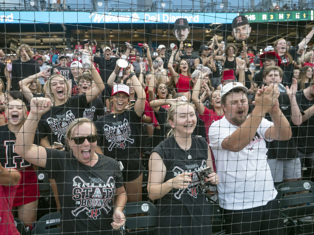 Rockwall-Heath fans celebrate the Hawks victory over the Keller Indians during the # inning of the 2021 UIL 6A state baseball final held, Saturday, June 12, 2021, in Round Rock, Texas.  Rockwall-Heath defeated Keller 4-3.   (Rodolfo Gonzalez/Special Contributor)