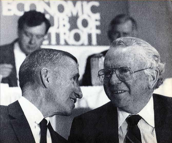 """""""I feel nothing but excitement,"""" Ross Perot (left) said after General Motors, headed by Roger Smith, bought EDS in 1984. But a clash of business cultures always lurked."""