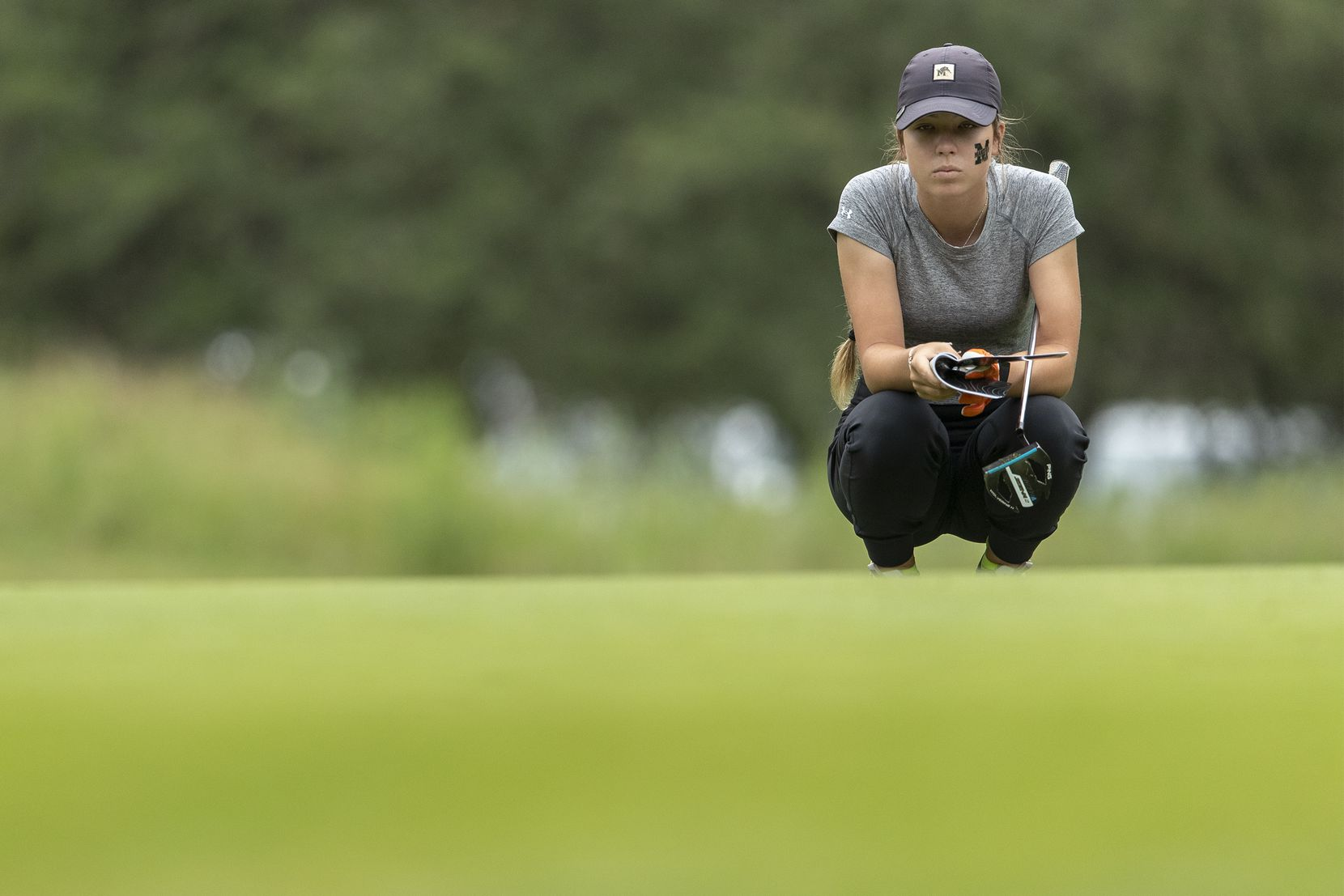 Mansfield's Abby Hirtzel studies her shot on the 1st green during the final day of the UIL Class 5A girls golf tournament in Georgetown, Tuesday, May 11, 2021. (Stephen Spillman/Special Contributor)