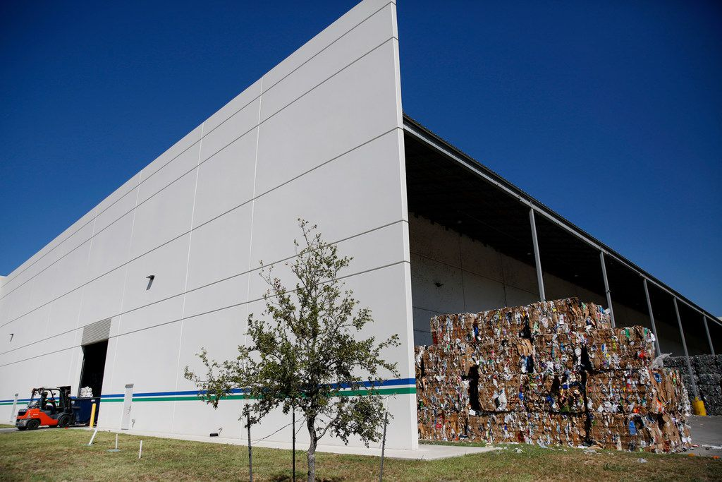 The exterior of the Dallas recycling plant, operating under a private-public partnership. None of the materials go to China.
