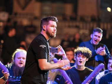Fans cheer for Crimsix (Ian Porter) as he takes the stage before Dallas Empire competes against Chicago Huntsmen in the Call of Duty League Launch Weekend at the Armory in Minneapolis, Minn., January 24, 2020.