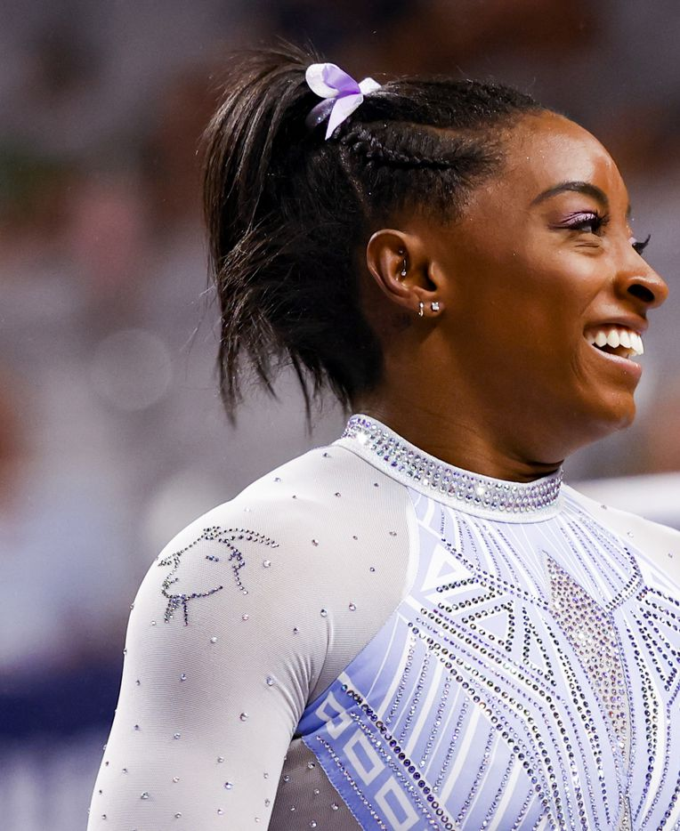 A goat bedazzled into Simon Biles outfit during day 1 of the senior women's US gymnastics championships on Friday, June 4, 2021, at Dickies Arena in Fort Worth. (Juan Figueroa/The Dallas Morning News)