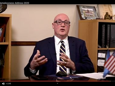Due to the coronavirus pandemic, Carl Falconer, president and chief executive of the Metro Dallas Homeless Alliance, delivered the sixth annual State of Homelessness address on a livestream on YouTube on Thursday.