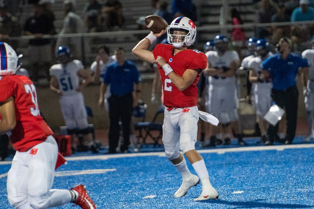 Parish Episcopal quarterback Preston Stone (2) hit wide receiver Jai Moore in the end zone Friday night to secure a 34-32 victory over Midland Christian.