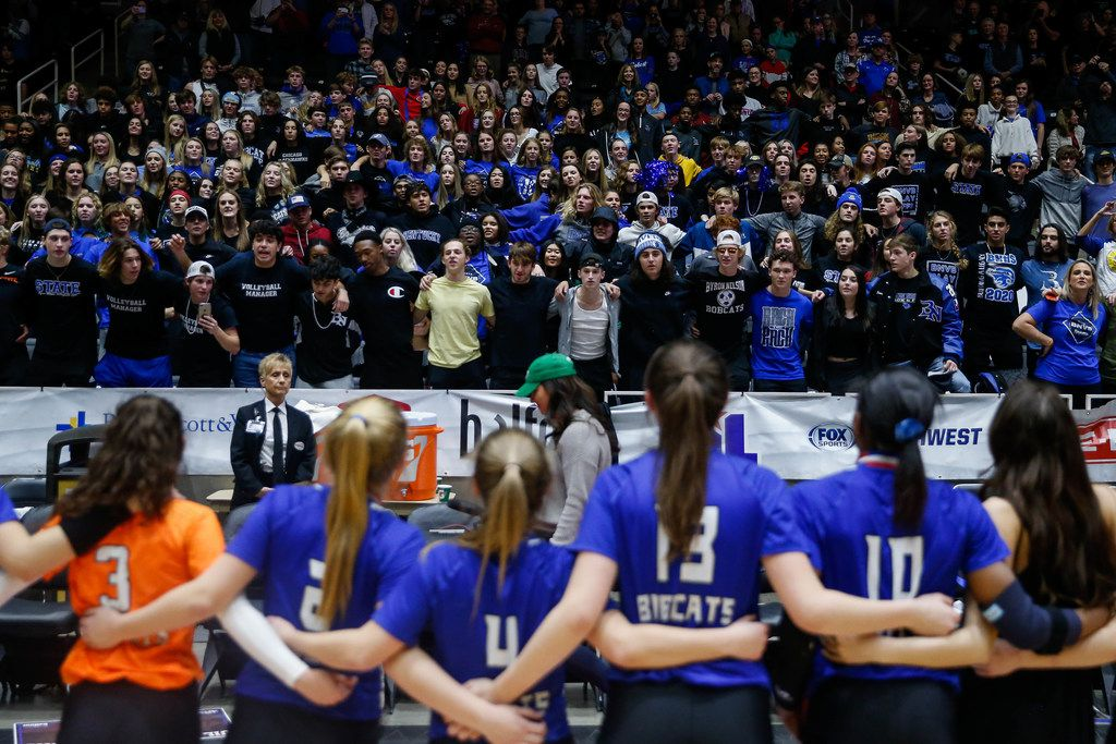 Trophy Club Byron Nelson Bobcats sing their school song with fans after winning the class 6A volleyball state final match against Plano West at the Curtis Culwell Center in Garland, on Saturday, November 23, 2019. Nelson won the fifth set 15-7 to become the title champions. (Juan Figueroa/The Dallas Morning News)
