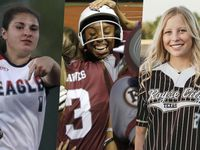 From left to right: Allen's Alexis Telford, Red Oak's Brianna Evans and Royse City's Cassidi Mullen.