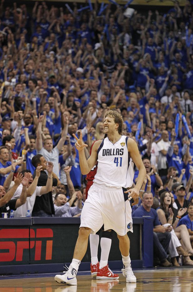 Dallas Mavericks power forward Dirk Nowitzki (41) reacts after hitting a solid 3-pointer. The Miami Heat beat the Dallas Mavericks 88-86 in Game 3 of the 2011 NBA Finals at American Airlines Center in Dallas, Sunday, June 5. The Heat lead the series 2-1. (Fort Worth Star-Telegram/Paul Moseley)