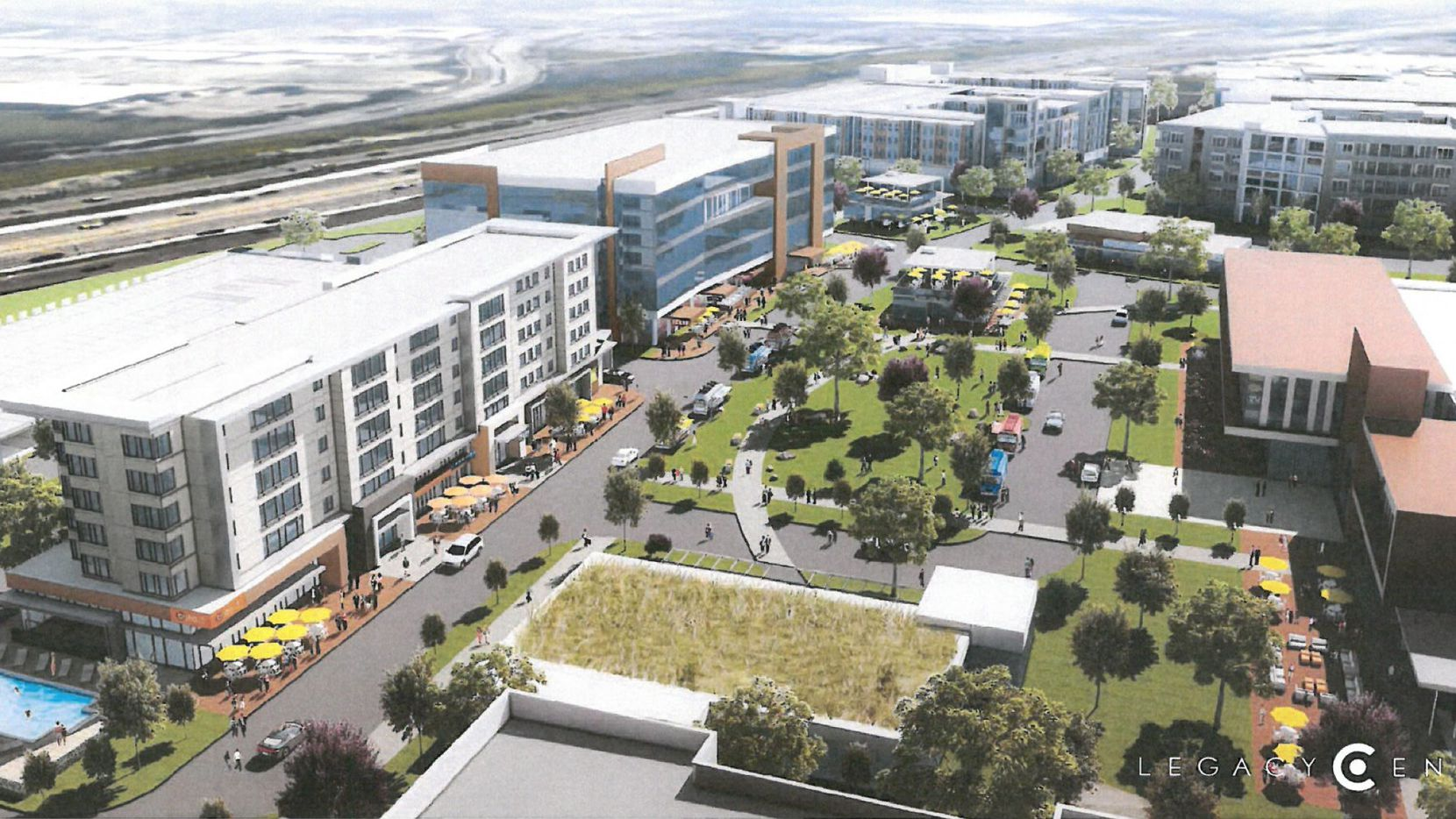 A planned urban village in the Legacy Central project on U.S. Highway 75 would add a boutique hotel, retail, restaurants and luxury apartments.