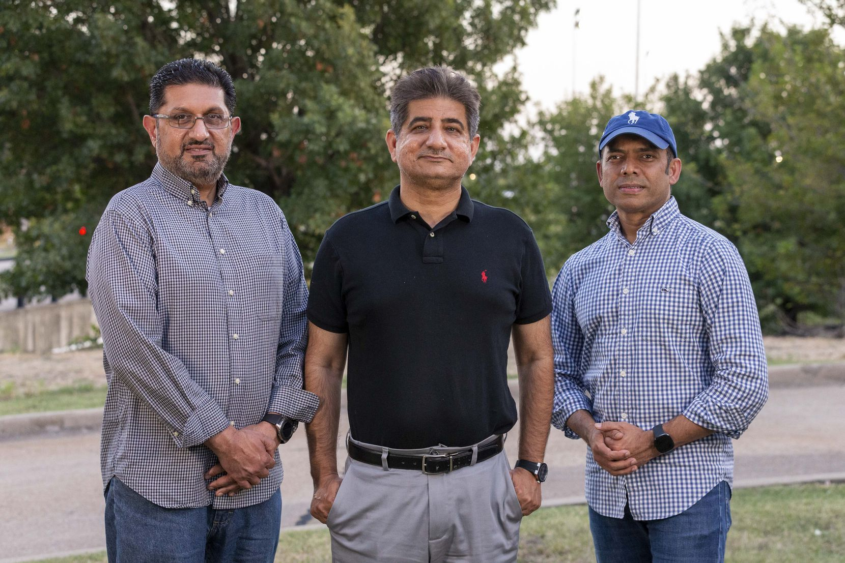Plano resident Khalid Ishaq (from left), Nadeem Akhtar of Irving and Rais Bhuiyan of Dallas. Akhtar is the brother-in-law of Waqar Hasan, who was slain by white supremacist Mark Stroman on Sept. 15, 2001. Ishaq is a Muslim activist who accompanied Akhtar to help identify Hasan's body. Bhuiyan was another Stroman shooting victim, and the only one to survive.