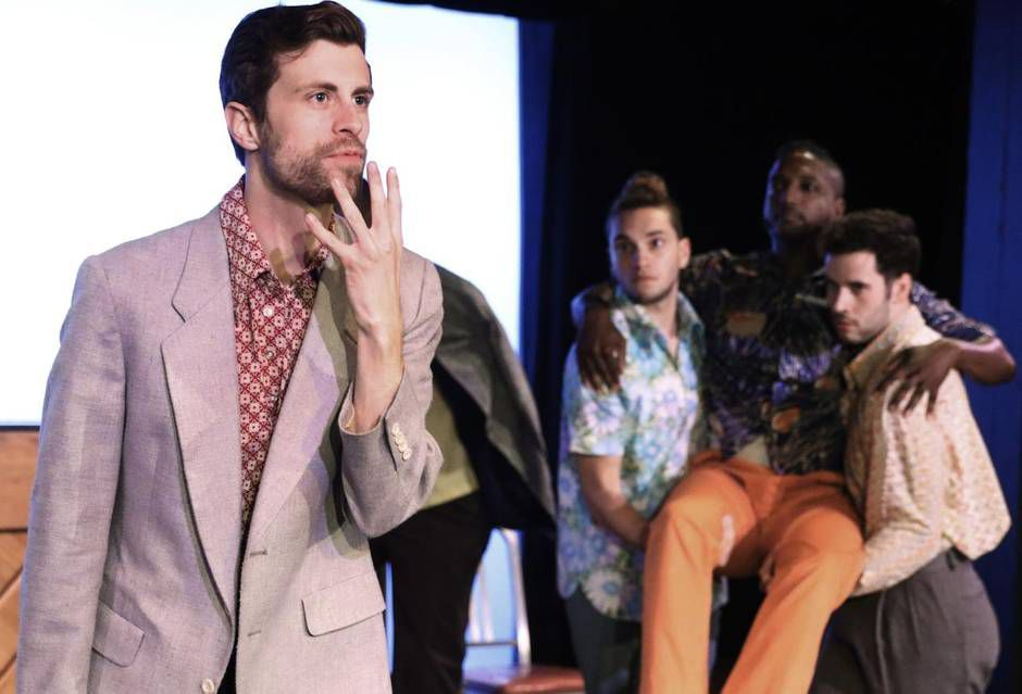"""Matt Clark (left) performs a monologue in a scene from """"The Show About Men."""" The dance-theater piece by Danielle Georgiou Dance Group opened the Festival of Independent Theatres on Friday."""