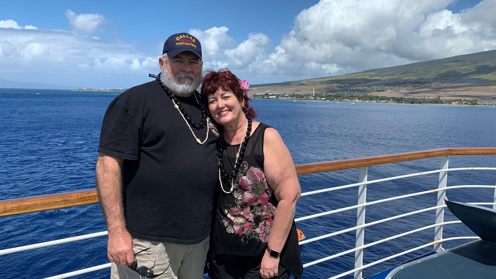 Susan and Michael Dorety are shown on a Grand Princess cruise they took in February to celebrate their 40th wedding anniversary. The retired Dallas firefighter later died alone from COVID-19 in a California hospital room after becoming infected on the ship.