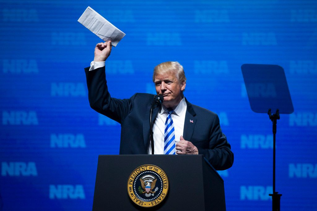 President Donald Trump addresses the NRA-ILA Leadership Forum at the Kay Bailey Hutchison Convention Center on Friday, May 4, 2018, in Dallas.
