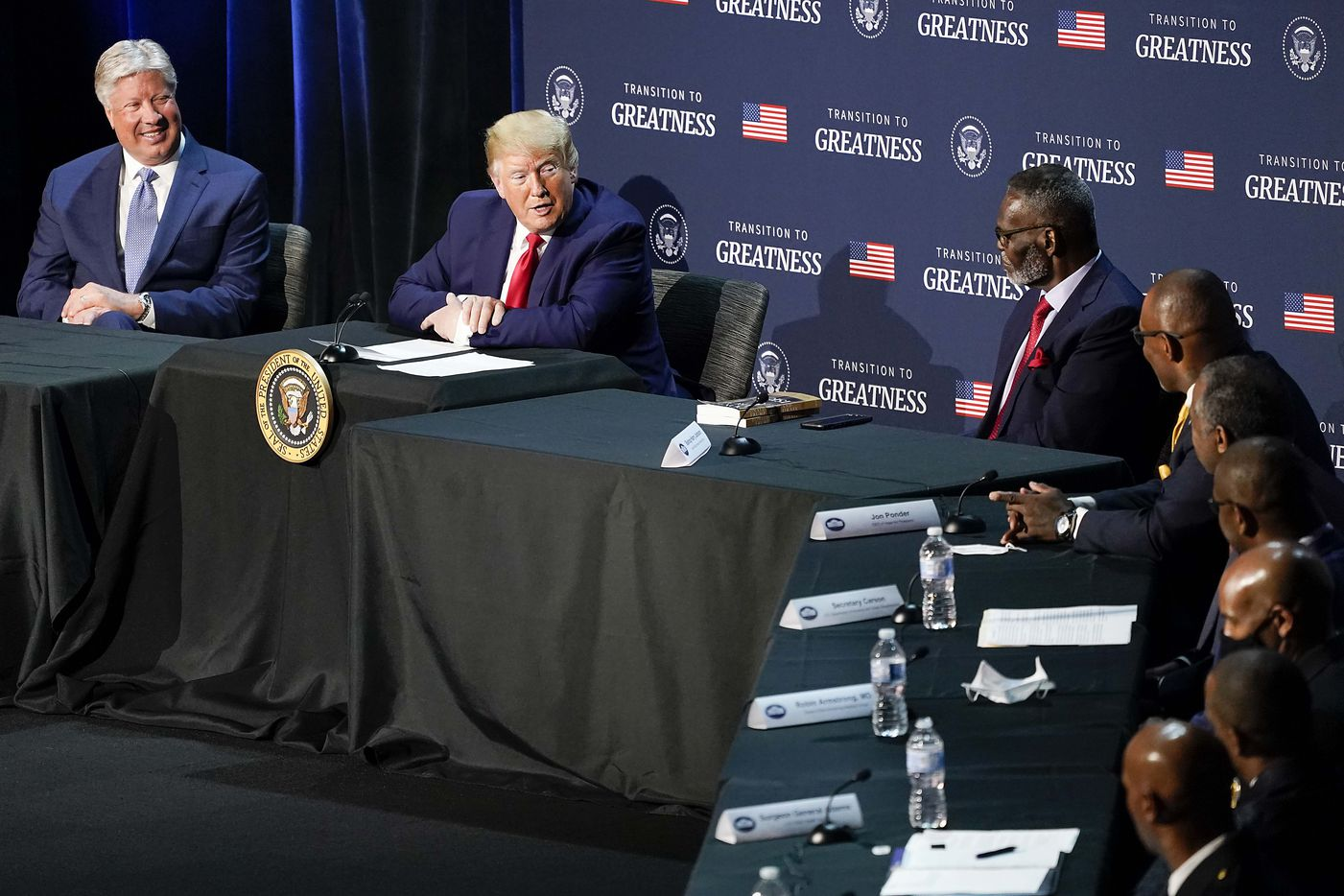 President Donald Trump participates in a roundtable conversation about race relations and policing at Gateway Church Dallas Campus on Thursday, June 11, 2020, in Dallas. (Smiley N. Pool/The Dallas Morning News)