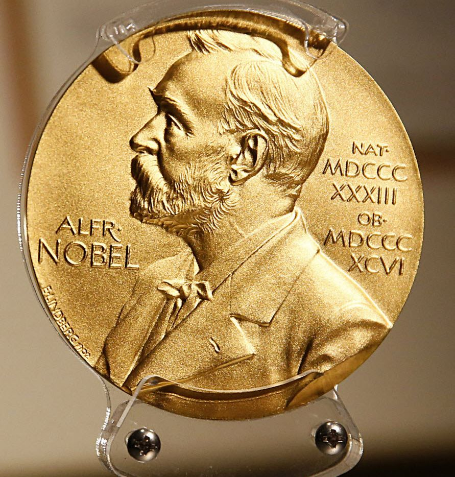 Alfred G. Gilman's 1994 Nobel Prize in Physiology or Medicine is on display at the Perot Museum of Nature and Science.