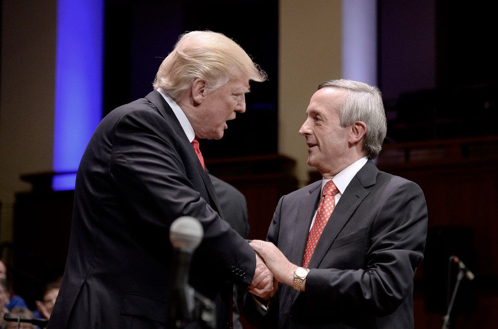 President Donald Trump and First Baptist Dallas Pastor Robert Jeffress participated in the Celebrate Freedom Rally at the John F. Kennedy Center for the Performing Arts in Washington on July 1, 2017.