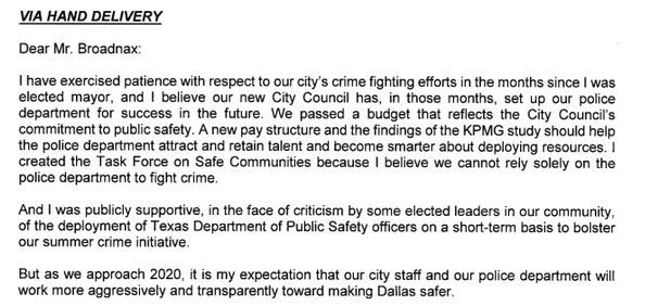 On Tuesday, December 3, 2019, Mayor Eric Johnson penned a letter to City Manager T.C. Broadnax expressing frustration over the city's crime and a lack of response from police.