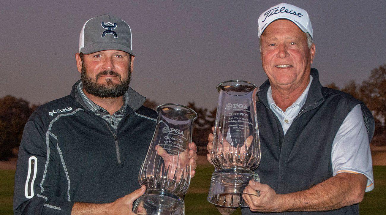 Tangle Ridge Golf Club assistant pro Thomas Devanna (left) and Tangle Ridge Golf Club director of golf Mark Viskozki won the  he Northern Texas PGA s  KBS Tour Shafts Pro-Assistant Championship with a score of 10-under 96 at Gleneagles Country Club in Plano, Texas, on Monday, Nov. 19. 2019.