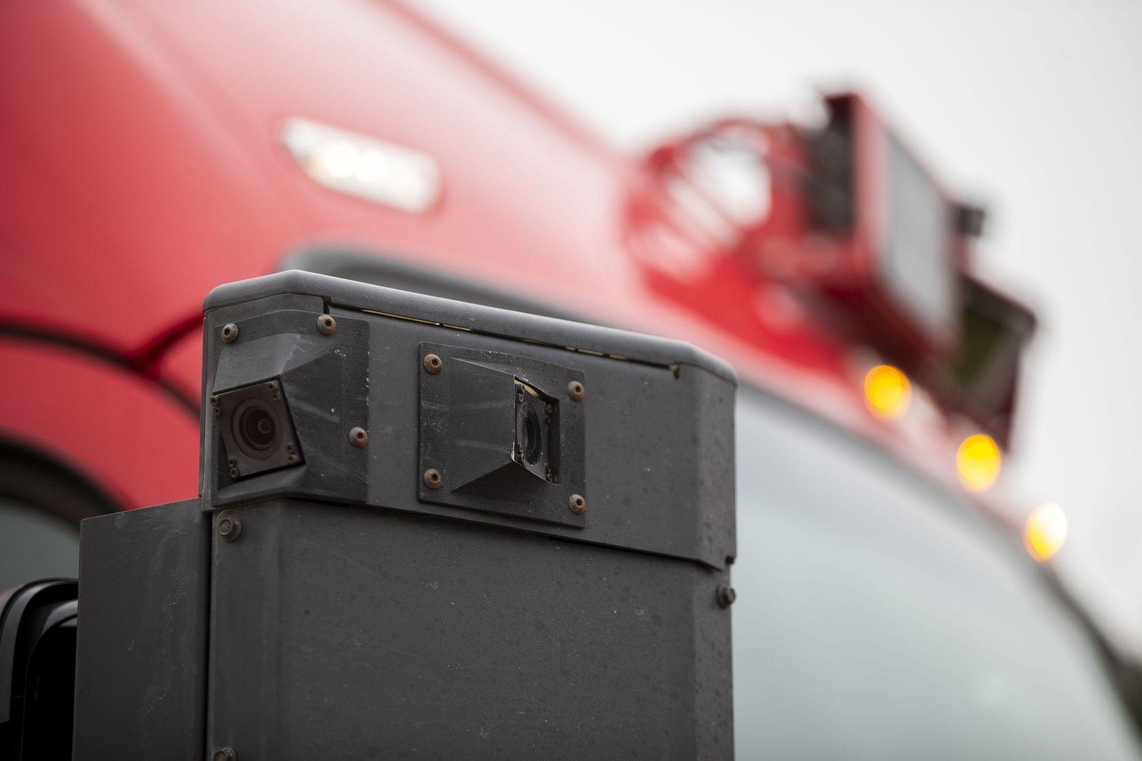Side mirror cameras on the Kodiak Robotics semi-truck at its development warehouse in Lancaster.