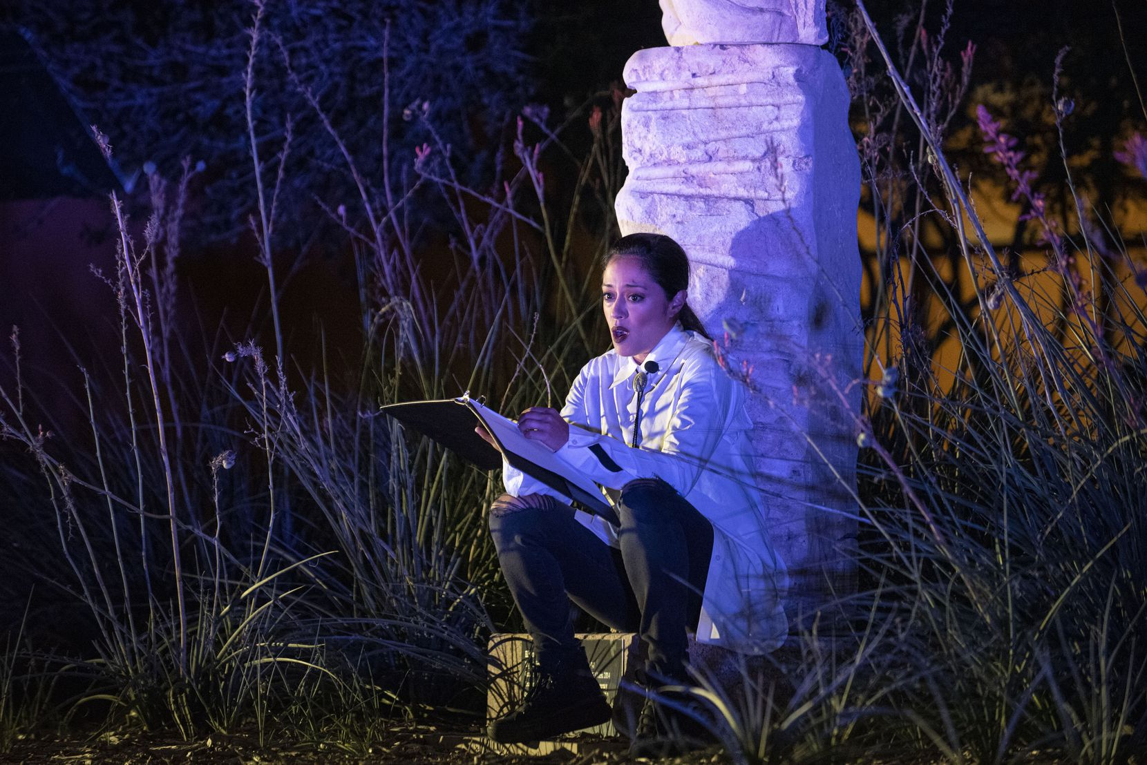 "Elena Hurst starred in Teatro Dallas' world premiere of ""A Grave is Given Supper,"" presented in November on the plaza of the Latino Cultural Center. The show, based on the poetry of Dallas author Mike Soto, is now available for viewing online."