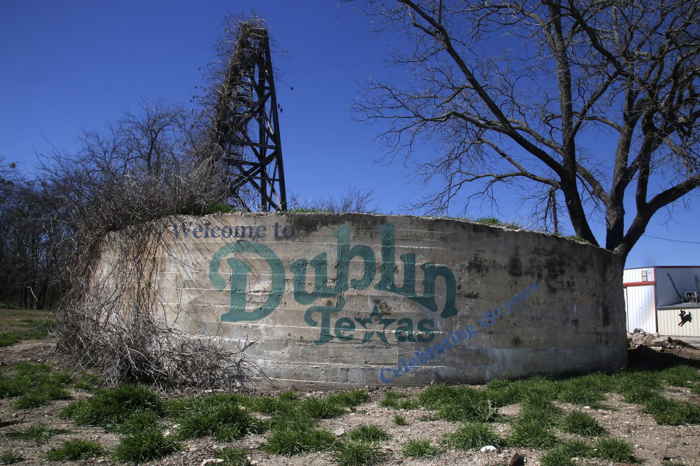 A Welcome To Dublin sign is seen not far from the Dublin Bottling Works in Dublin, Texas Friday Feb. 24, 2017. (Guy Reynolds/The Dallas Morning News)